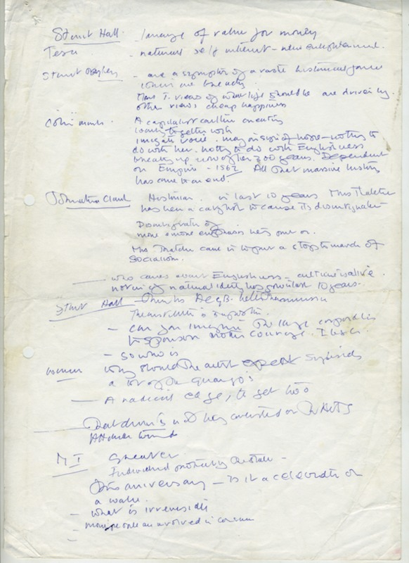 Barbara Steveni's notes, possibly on a event or radio discussion featuring Stuart Hall