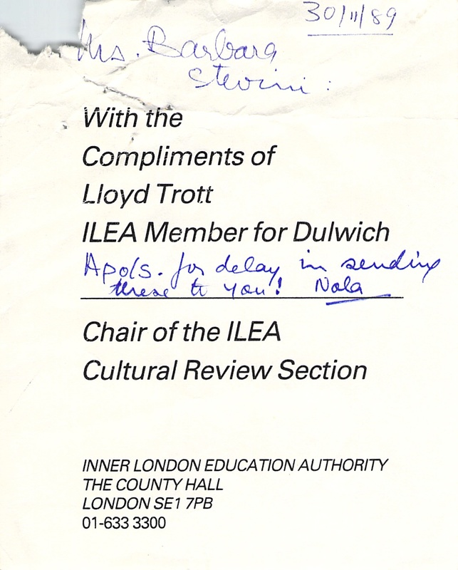 Letter from Lloyd Trott to Russell Profitt, assistant director of the Education Department at Southwark