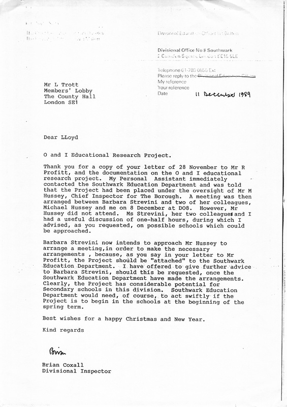 Letter from Brian Coxall to Lloyd Trott