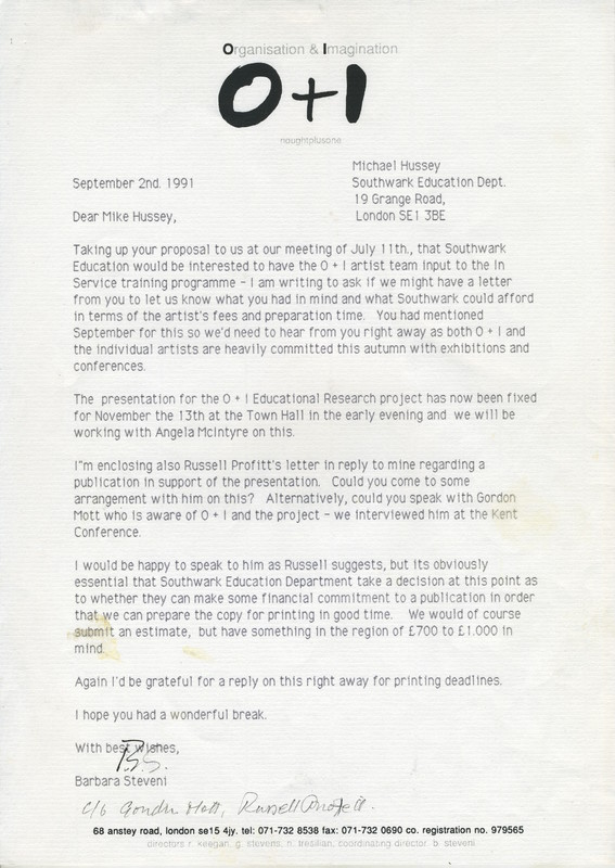 Letter from Barbara Steveni to Mike Hussey