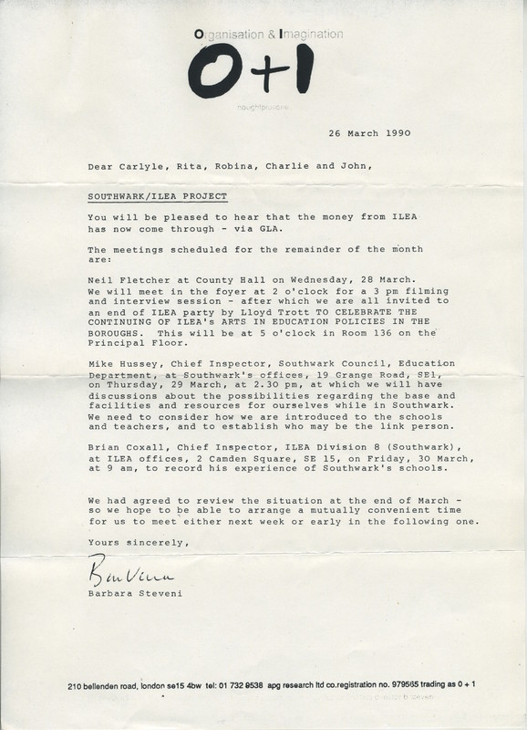 Letter from O+I to artists including one envelope addressed to Charlie Hooker